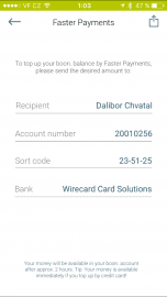 Dobíjet kartu můžete i bankovním převodem, ale na britský účet. Platba se připíše v GBP.