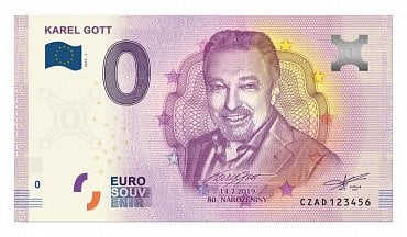 Euro Souvenir bankovka s potrétem Karla Gotta