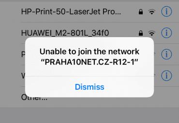 Typická hláška při pokusu i připojení k Wi-Fi zdarma na Praze 10
