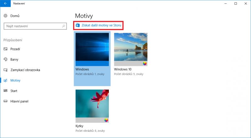 Klepnutím na odkaz Získejte další motivy ze Storu se dostanete ke spoustě motivů určených pro Windows 10