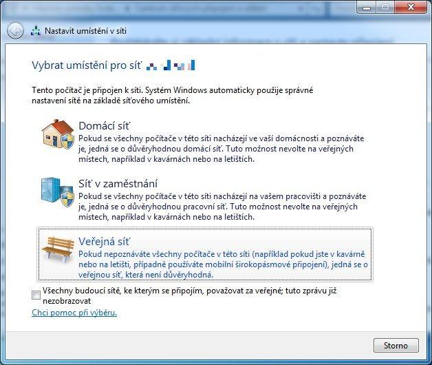 Nastavení umístění v síti ve Windows