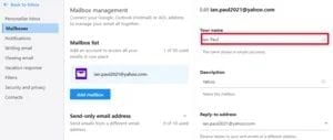 U služby Yahoo! Mail je možnost změny zobrazovaného jména skryta.