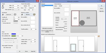 V menu Projekt, Vlastnosti projektu máte možnost změnit jeho rozměry či upravit zdi (vlevo). Vpravo jsou pak vidět místnosti v projektu, které si můžete i pojmenovat, nechat spočítat jejich plochu a vložit ji do popisky.