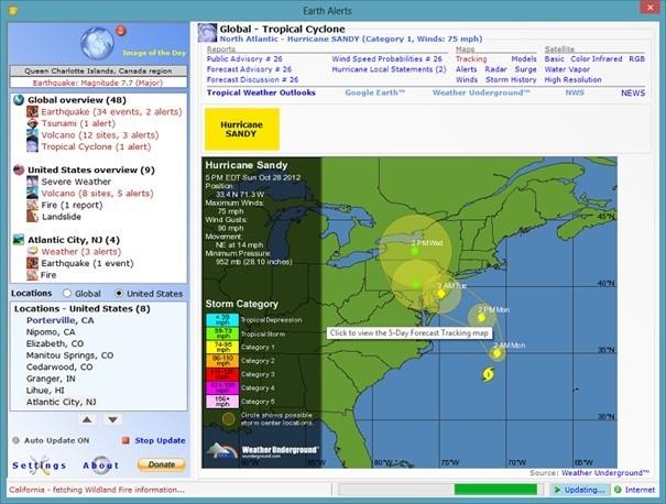 Pomocí Earth Alert se dozvíte o přírodních katastrofách ve světě dříve, než ve zprávách