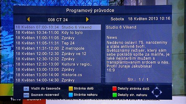 EPG (elektronický programový průvodce) je zobrazován pouze v režimu, který vidíte na obrázku. Zobrazujje se u každého programu zvlášť na celý den. Do dalších stanic se přesouváme tlačítky -/+. Žlutým a modrým tlačítkem se pohybujete po programech a do dalších dnů. Dostanete se až k programům na sedm dnů dopředu. Z EPG je možno programovat nahrávky i rezervace
