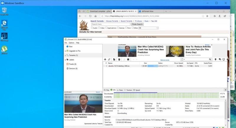 BitTorrent fungoval bez problémů. Nikdy si nemůžete být stoprocentně jisti tím, co stahujete – a zde je použití Windows Sandboxu bezpochyby dobrý nápad.