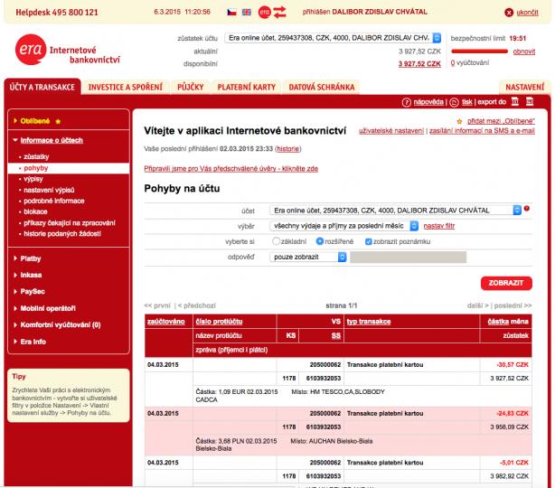 2f80d3f7a Internetové a mobilní bankovnictví Era/Poštovní spořitelny - Měšec.cz