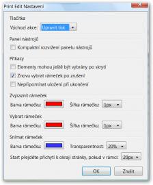 Konfigurační volby doplňku.