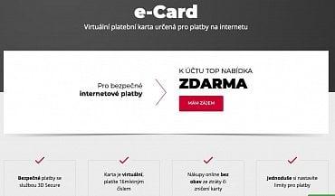 Virtuální karta e-Card od Komerční banky (11.11.2020).