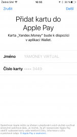 """Postup přidání virtuální karty Yandex pro Apple Pay je obdobný jako u karty plastové, jen se to udělá skoro """"samo""""."""
