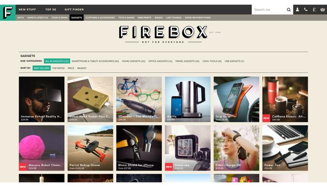 Hlavní strana e-shopu Firebox - vyberte si kartu.