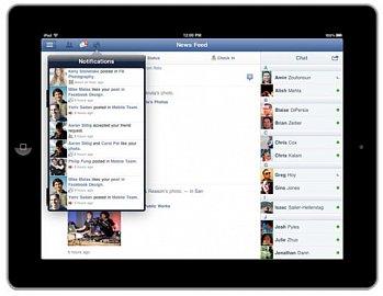 Upozornění a chat na Facebooku pro iPad