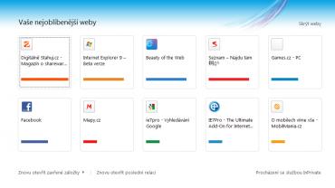 <p>Nabídka nejoblíbenějších webů při otevření prázdné záložky</p>