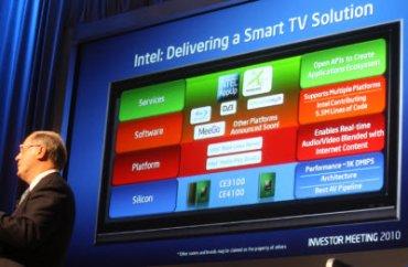 Paul Otellini, šéf Intelu, presentuje myšlenku Smart TV, chytré televize, na setkání s investory Intelu.
