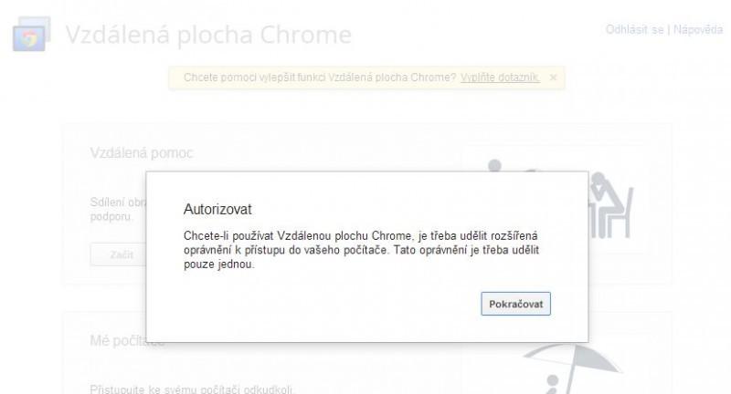 Vzdálená plocha Chrome vyžaduje při svém prvním spuštění přidělení rozšířených oprávnění