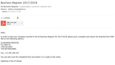 Další verze katalogového scamu z dubna 2017.