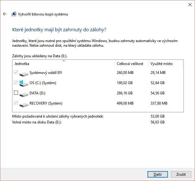 V tomto okně můžete vybrat diskové oddíly, které mají být součástí bitové kopie – nicméně výchozí nastavení bude pravděpodobně to nejsprávnější