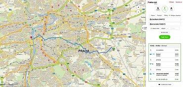Vyhledání spojení prostřednictvím MHD včetně jízdních řádů na Mapy.cz.