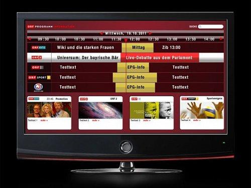 Elektronický programový průvodce ORF dostupný v rámci HbbTV v interním testovacím provozu