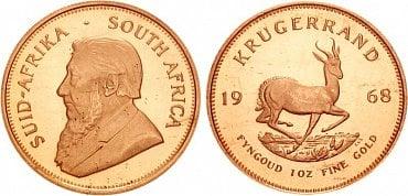 Investiční zlatá mince Krügerrand z Jihoafrické republiky.