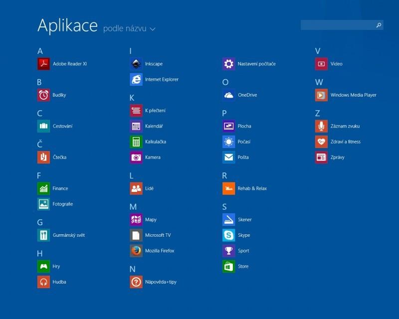 Obrazovka Aplikace ve WIndows 8.1