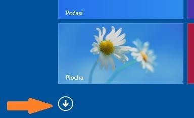 Šipka pro zobrazení okna Aplikace