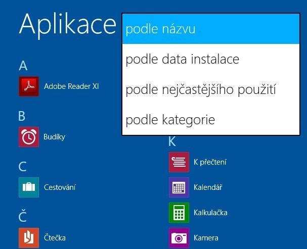 Třídění aplikací ve Windows 8.1