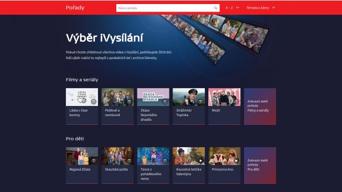 [aktualita] Stránka Výběr iVysílání zpřehledňuje cestu k pořadům v archivu ČT