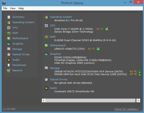 Program Speccy spuštěný v operačním systému Windows 8.1