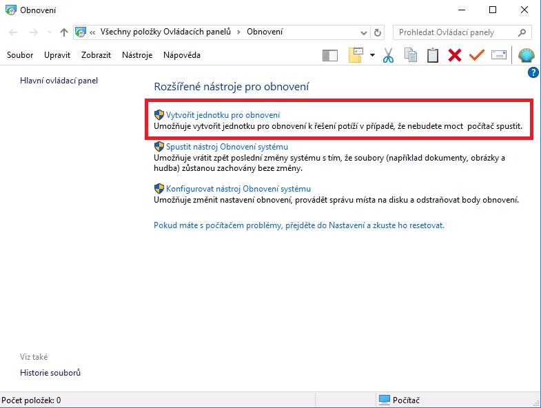 Jednotku pro obnovení Windows vytvoříte velmi snadno – stačí použít nástroj, který přímo integrován ve Windows 10