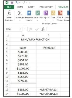 Funkce MIN/MAX