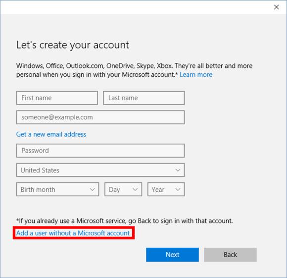 zadání údajů o uživateli při vytváření uživatelského účtu ve Windows 10