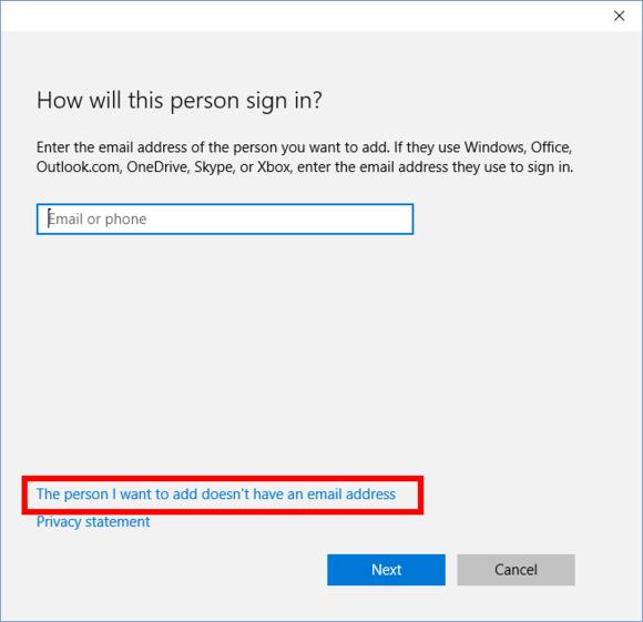 Způsob přihlášení při vytváření uživatelského účtu ve Windows 10