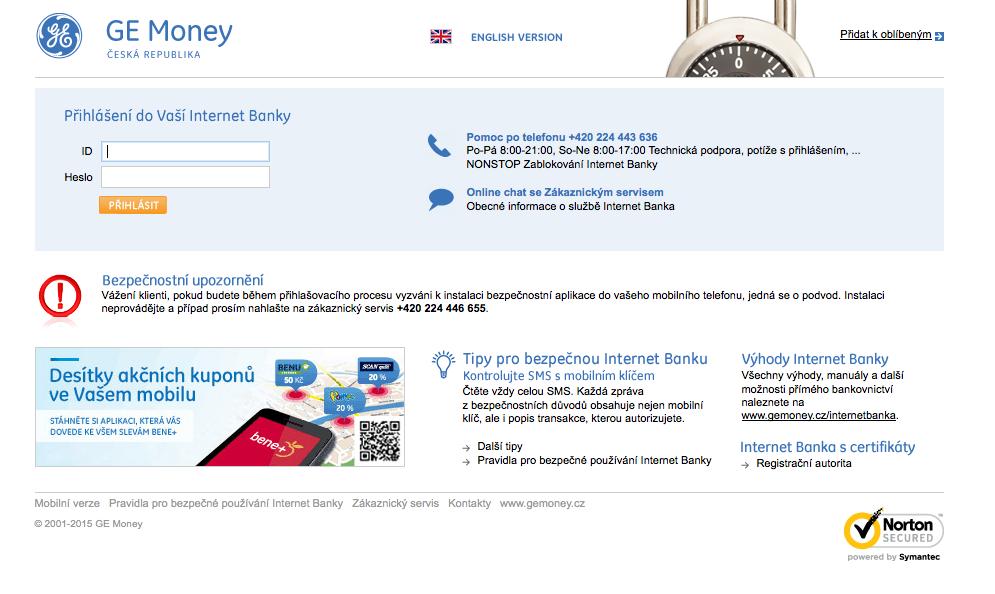 GE Money Bank. Internetové bankovnictví