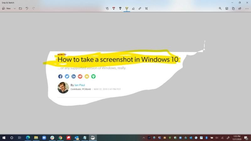 Klávesová zkratka klávesa Windows + Shift + S pošle sejmutý snímek obrazovky do nástroje Výstřižek a skica, kde můžete provést třeba zvýraznění.