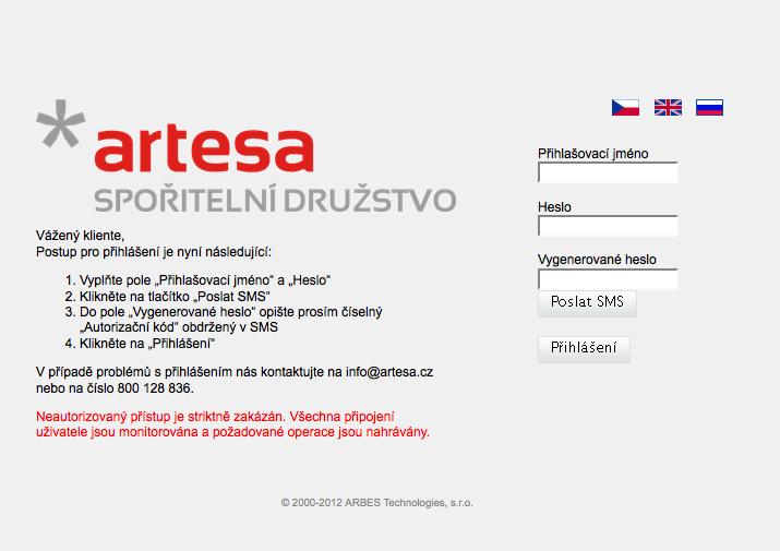 Artesa, spořitelní družstvo. Internetové bankovnictví