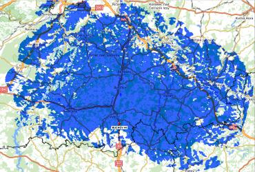 Mapa pokrytí z lokality Buchov
