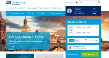 Registrace na web Českých drah.
