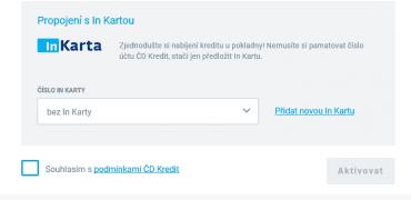 """Propojování služby ČD Kredit s In Kartou. Pokud In Kartu nevlastníte, jednoduše zaškrtnete """"bez In Karty"""" a pokračujete dál."""