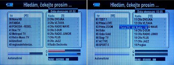 Průběh ladění terestrických kanálů. V Praze analyzátor naladil 68 kanálů včetně zkušebního vysílání v DVB-T2 na K50.