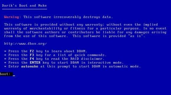 Toto varování v programu DBAN v žádném případě nelže. Výraz Nuke označuje atomovou bombu, což v přeneseném slova smyslu znamená, že z původních dat nezůstane skutečně vůbec nic.