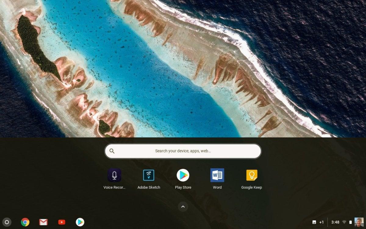 Na Chromebooku se většina aplikací nachází pod hlavním panelem.