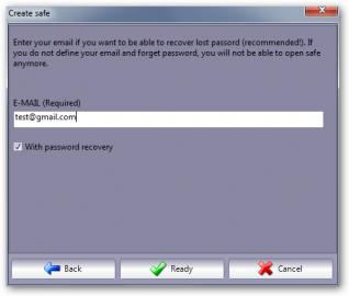 Vložení adresy pro zaslání zapomenutého hesla.
