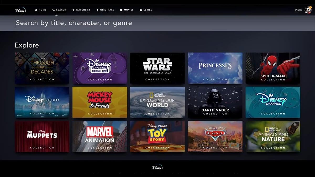Sekce Explore v Disney+