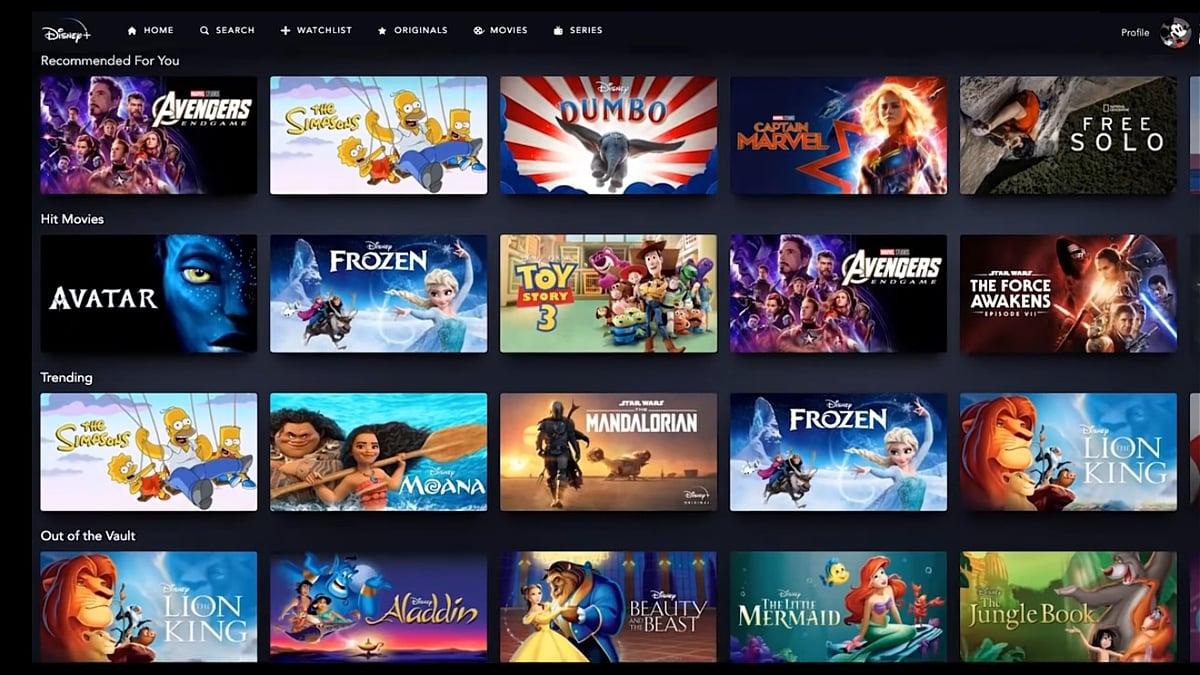 Sekce na hlavní straně Disney+