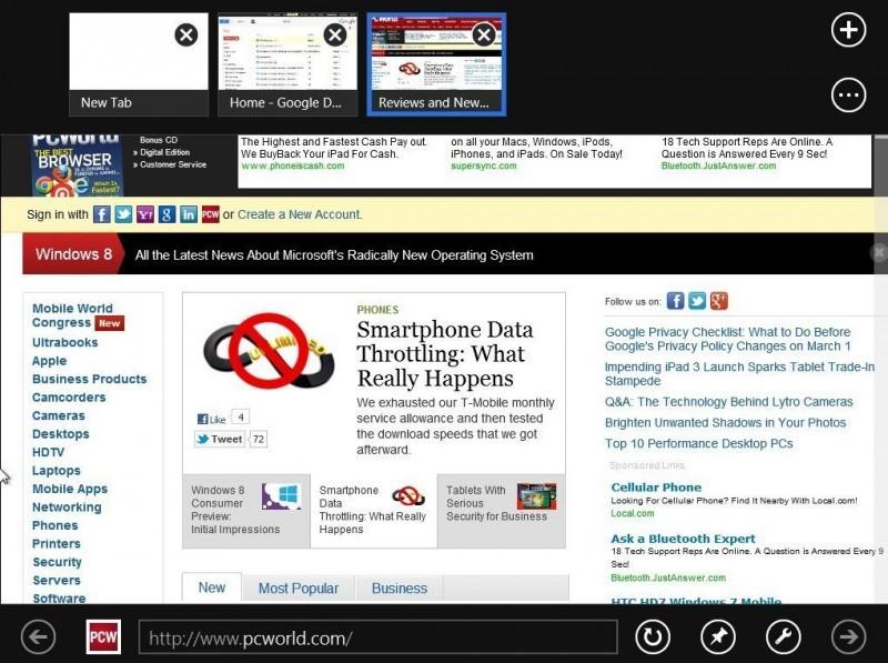 Metro Internet Explorer umisťuje panel pro vkládání adresy URL a základní prvky pro ovládání prohlížeče do spodní části obrazovky