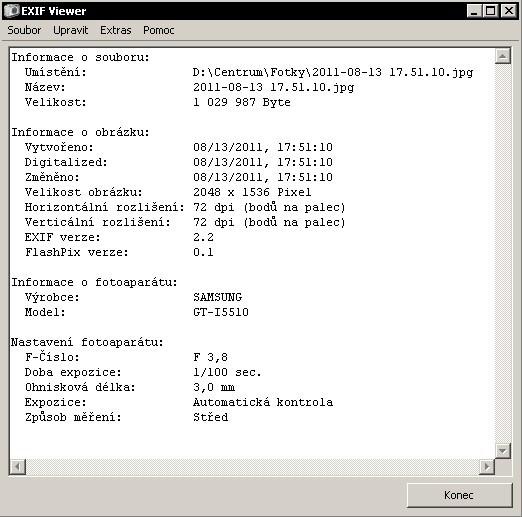 EXIF Viewer vytáhne EXIF informace z JPEGu
