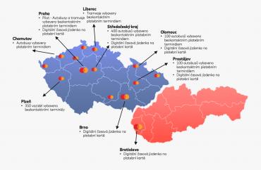 Přehled dopravních projektů v ČR a SR, na kterých se podílí Mastercard. (Visa se podílí na Ostravě a Děčíně.)