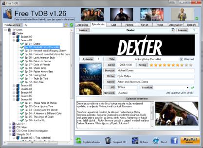 Pomocí Free TvDB získáte podrobné informace o seriálech a můžete si zaznamenávat jejich shlédnutí
