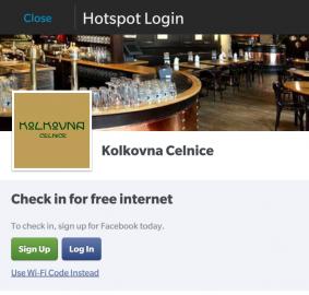 Wi-Fi v restauracích Kolkovna, přihlášení probíhá skrze check-in na Facebooku.